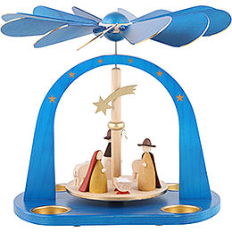 1 - st�ckige Pyramide Christi Geburt, blau lasiert  -  24cm