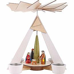 1 - stöckige Pyramide mit Christi Geburt, weiß  -  29cm