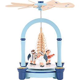 1 - st�ckige Weihnachtspyramide  -  Engelsmusik blau  -  21cm