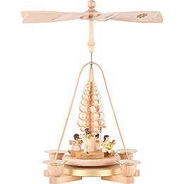 1 - tier Pyramid Angel natural wood  -  11 inch  -  28cm