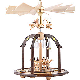 1 - tier pyramid with seven angels and glass bells  -  38x28cm / 15x11inch