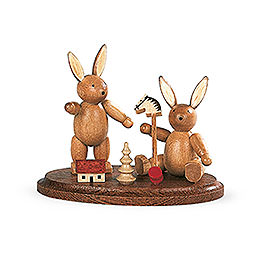 2 Easter Bunnies Playing  -  4cm / 2 inch