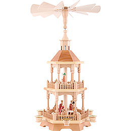 2 - Tier Pyramid  -  Nativity, Natural with Dark Roof 52cm / 20.5 inch