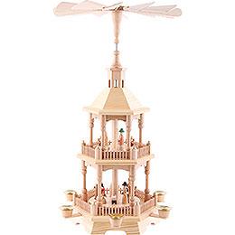 2 - stöckige Pyramide Christi Geburt, natur mit hellem Dach  -  52cm