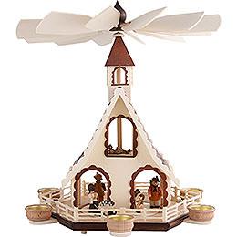 2  -  stöckige Pyramide Waldleute für Teelichte  -  47cm