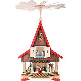 2 - stöckiges Adventshaus  -  Christi Geburt  -  53cm