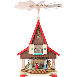 2 -  tier Adventhouse  -  Nativity Scene  -  21 inch  -  53cm