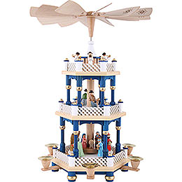 3 - Tier Pyramid  -  Nativity Scene Blue  -  40cm / 16 inch