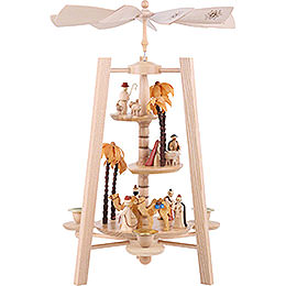 3 - Tier Pyramid  -  Nativity Scene  -  Natural Wood  -  40cm / 16 inch