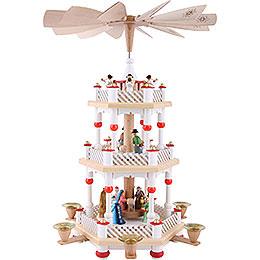 3 - st�ckige Pyramide Christi Geburt wei�  -  40cm