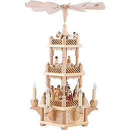3 -  tier Pyramid Nativity Scene natural wood  -  18 inch  -  45cm