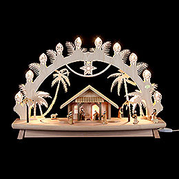 3D Candle Arch  -  'Nativity' with Moving Figures  -  68x43x16cm / 27x17x6 inch