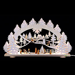3D - Candle arch 'Children in the snow'  -  66x40x8,5cm / 26x16x3.3inch