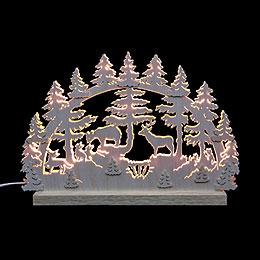 3D - Doppelschwibbogen  -  Tiere im Wald  -  42 x 30 x 4,5cm