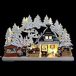 3D Double Arch  -  Christmas Market with White Frost  -  40x30x7cm / 16x12x3 inch