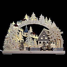 3D Double Arch  -  Seiffen in Winter  -  44x29x7cm / 17x11x3 inch