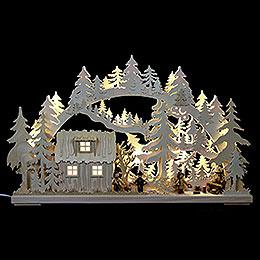 3D Schwibbogen  -  Blockhütte mit Waldarbeitern  -  62x38x8cm