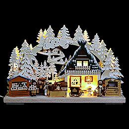 3D Schwibbogen  -  Nikolausmarkt mit Raureif  -  40x30x7cm