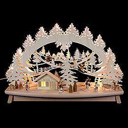 """3D Schwibbogen """"Kinder im Schnee"""" mit beweglichen Figuren  -  68x43x16cm"""