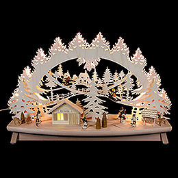"3D candle arch ""Children in the snow"" with moving elements  -  68x43x16cm / 27x17x6inch"