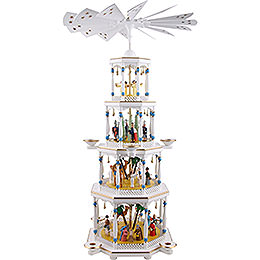 4 - tier pyramid nativity, white  -  94cm / 37inch
