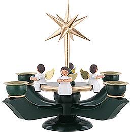 Adventsleuchter gr�n - gold mit 4 Engeln und Stern  -  21cm