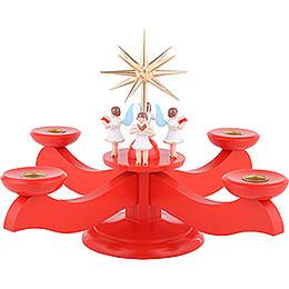 Adventsleuchter rot  -  29x29x26cm