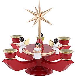 Adventsleuchter rot - gold mit vier sitzenden Engeln  -  23x27cm
