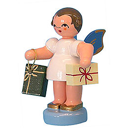 Angel with 2 Gifts -  Blue Wings  -  Standing  -  6cm / 2,3 inch