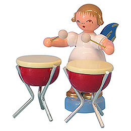 Angel with 2 Timbals  -  Blue Wings  -  Standing  -  6cm / 2,3 inch