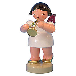 Angel with Flugelhorn  -  Red Wings  -  Standing  -  6cm / 2,3 inch
