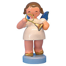 Angel with French horn  -  Blue Wings  -  standing  -  6cm / 2,3 inch
