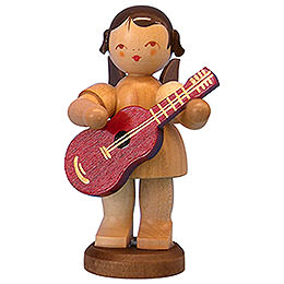 Angel with Guitar  -  Natural Colors  -  Standing  -  9,5cm / 3,7 inch