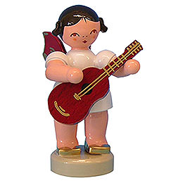 Angel with Guitar  -  Red Wings  -  Standing  -  6cm / 2,3 inch
