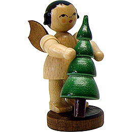 Angel with christmas tree  -  natural -  standing  -  6cm / 2.3inch
