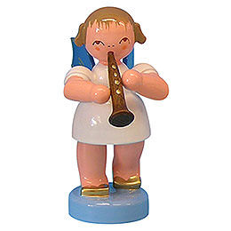 Angel with clarinet  -  Blue Wings  -  standing  -  6cm / 2,3 inch