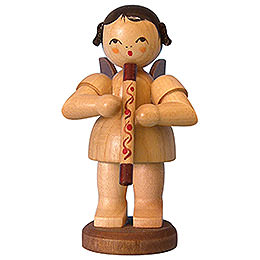 Angel with didgeridoo  -  natural colors  -  standing  -  9,5cm / 3,7 inch