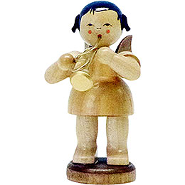 Angel with flugelhorn  -  natural colors  -  standing  -  9,5cm / 3.7inch