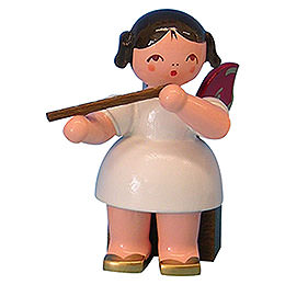 Angel with flute  -  Red Wings  -  sitting  -  5cm / 2 inch