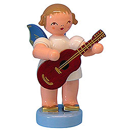Angel with guitar  -  Blue Wings  -  standing  -  6cm / 2,3 inch