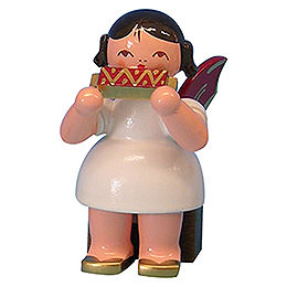 Angel with harmonica  -  Red Wings  -  sitting  -  5cm / 2 inch