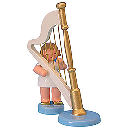 Angel with harp  -  Blue Wings  -  standing  -  6cm / 2,3 inch