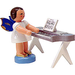Angel with keyboard  -  blue wings  -  standing  -  6cm / 2.3inch