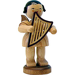 Angel with lyre  -  natural  -  standing  -  9,5cm / 3.7inch