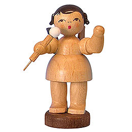 Angel with microphone  -  natural colors  -  standing  -  6cm / 2,3 inch