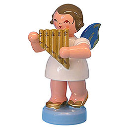 Angel with panpipe  -  Blue Wings  -  standing  -  6cm / 2,3 inch