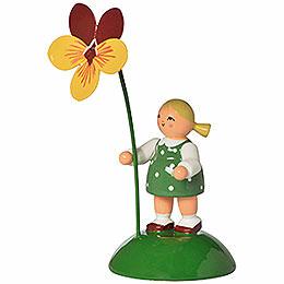Blumenmädchen mit Stiefmütterchen  -  6cm