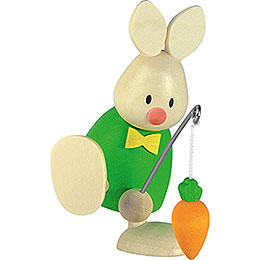 Bunny Max with fishing rod and carrot  -  9cm / 3.5inch