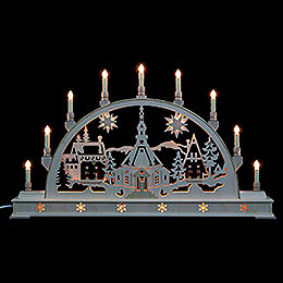 Candle Arch  -  Church with Carol Singers and base  -  78cm x 45cm / 31 x 18 inches