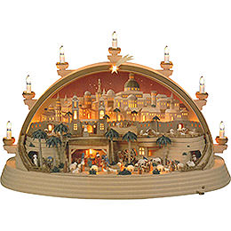 Candle Arch Nativity scene in Bethlehem (limited edition)  -  74x28x58cm / 29x11x23inch